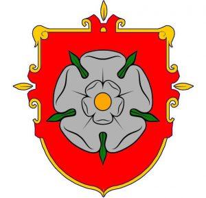 Alytaus miesto herbas (penkialapė rožė)