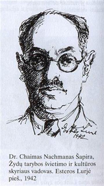 Dr. Chaimas Nachmanas Šapira, VDU semitologijos katedros vedėjas, Žydų tarybos švietimo ir kultūros skyriaus vadovas. Esteros Lurjė pieš. 1942m.