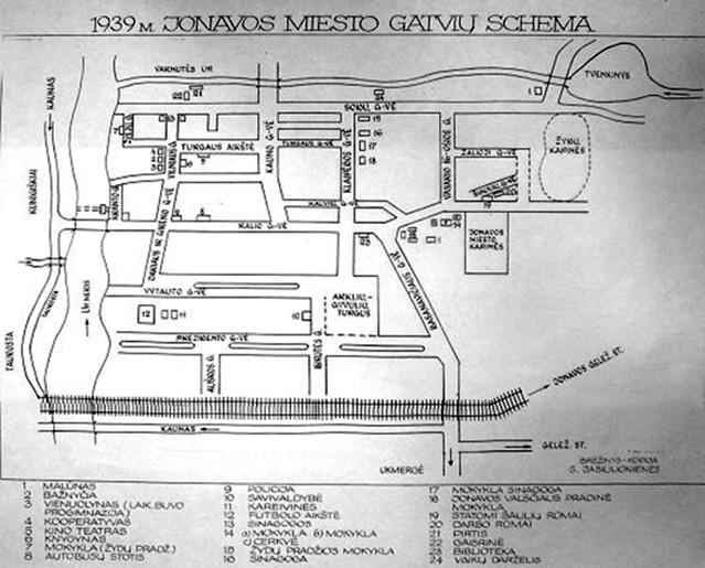 Jonavos miesto gatvių schema