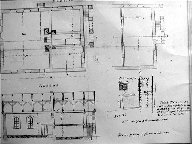 Kurpių sinagogos planas (projektiniai brėžiniai)