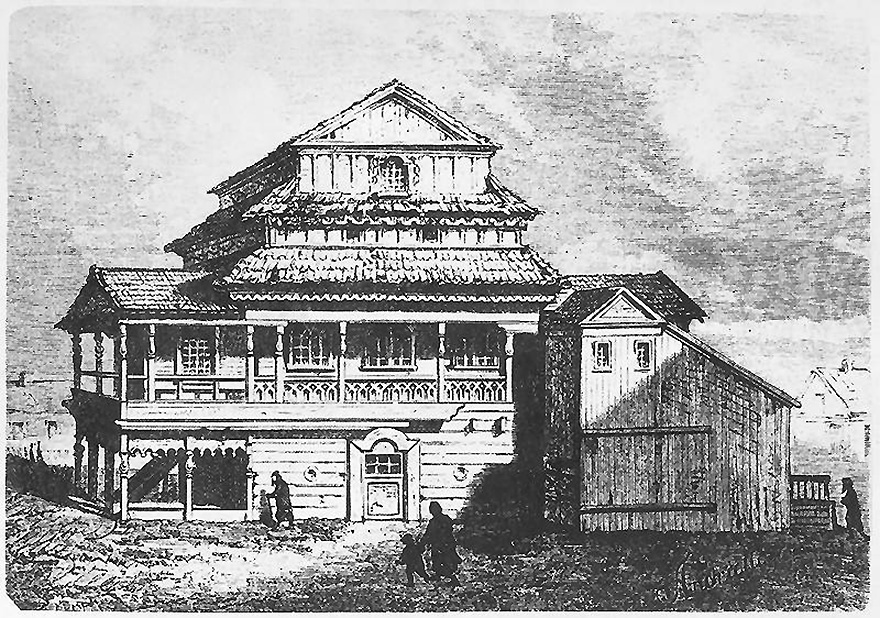 Medinės Jurbarko sinagogos fasadas