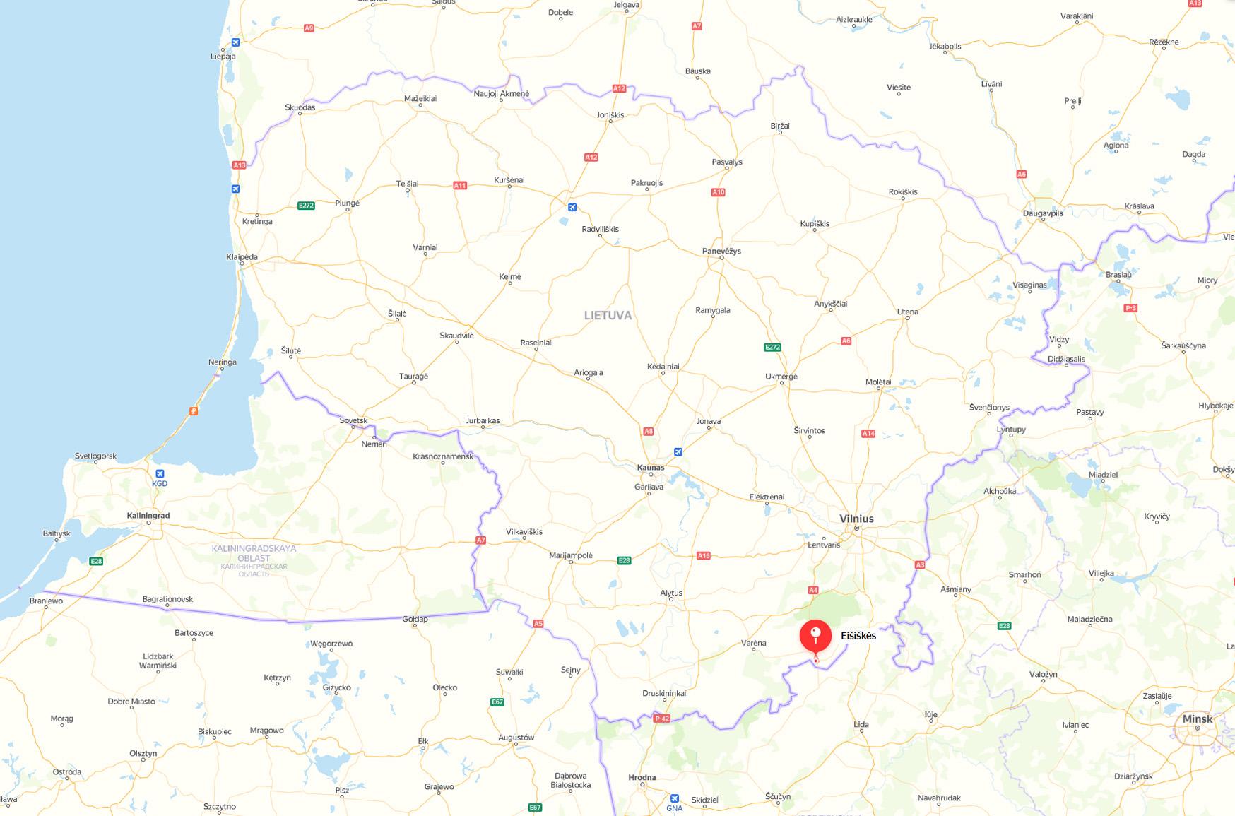 Eišiškių miestelio lokalizacija LR administraciniame žemėlapyje