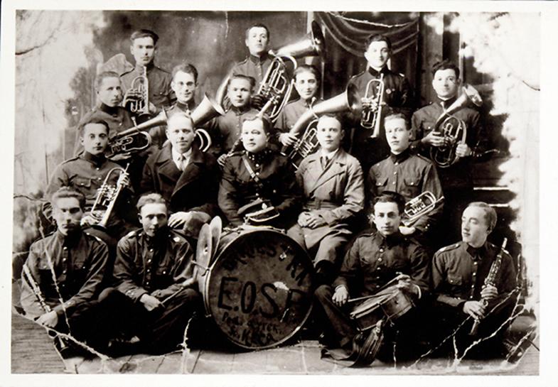 Eišiškių miestelio gaisrininkų orkestras, kuriame grojo žydai ir lenkai. 1941 m.