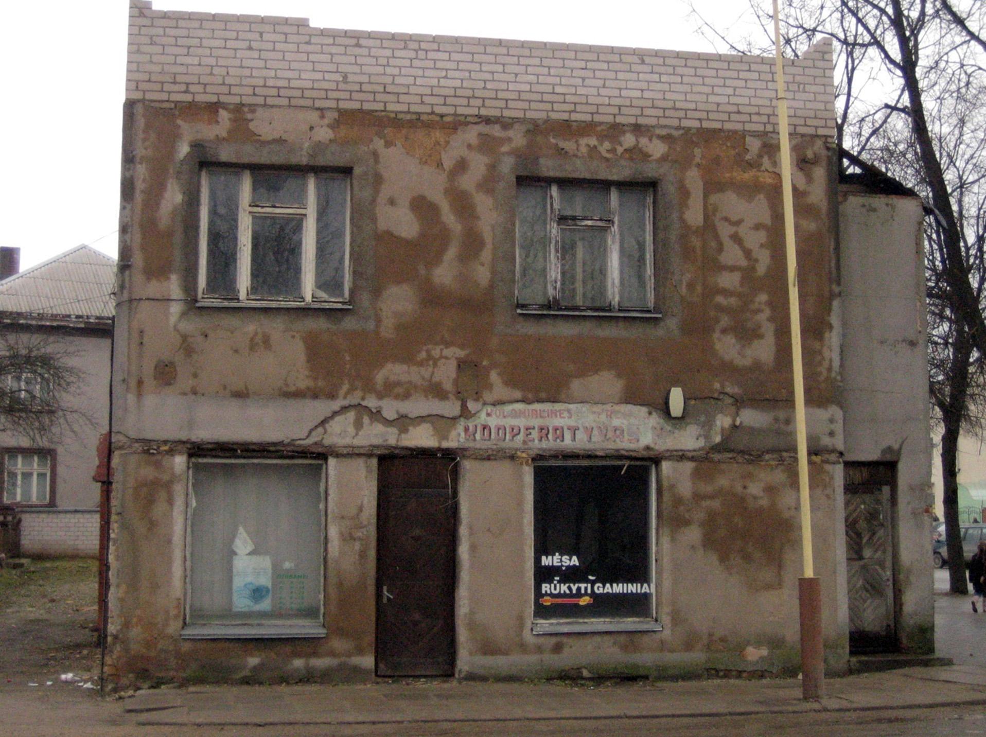 Kelmiškių teigimu, žydams priklausiusios parduotuves pastatas